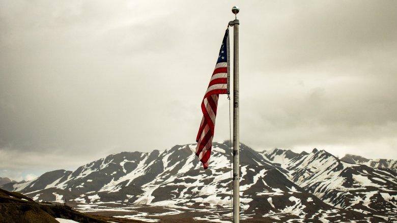 US flag over Alaska