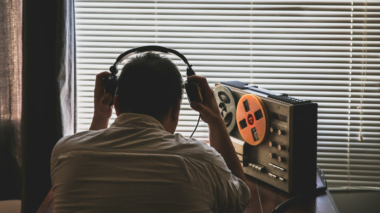 spy with recording equipment