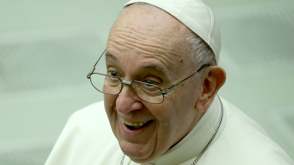 Pope Francis smiling, December 2020
