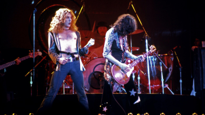 Led Zeppelin performing on stage