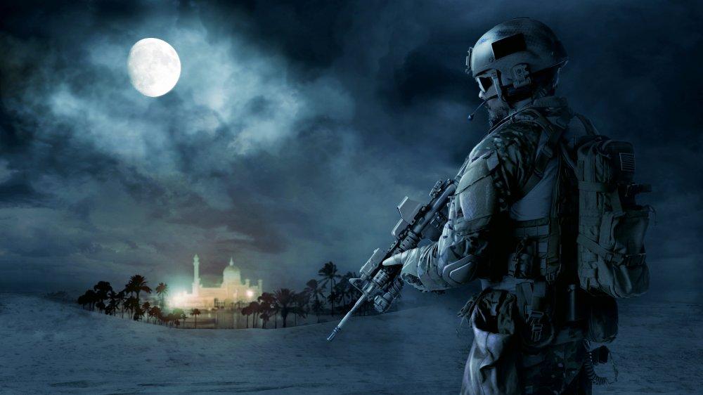 Stylized Green Beret on patrol