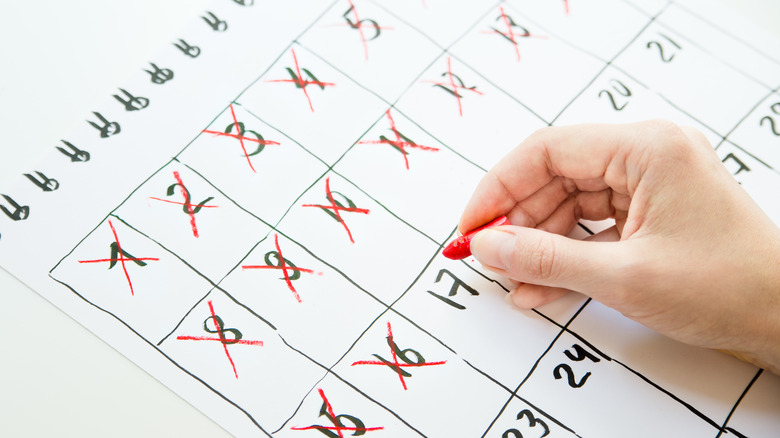 crossing out dates on calendar