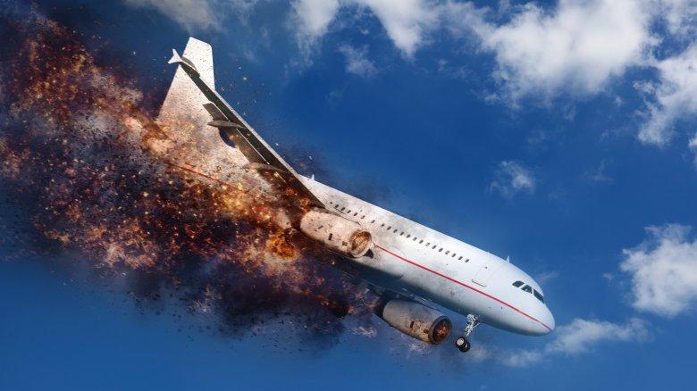Burning airplane