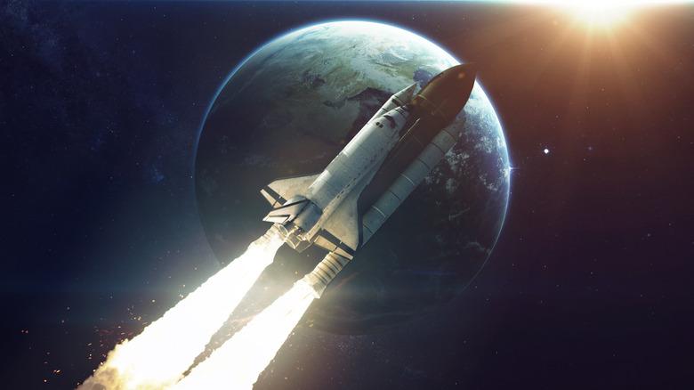Spaceship flying in