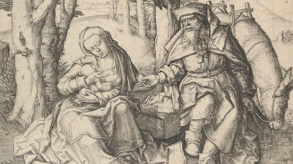 Rest on the Flight Into Egypt, circa 1506. Artist Lucas van Leyden.