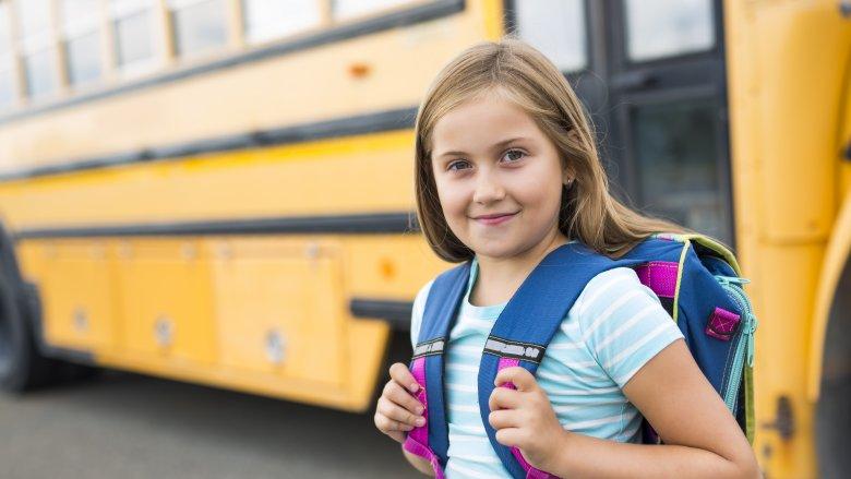 School bus, girl