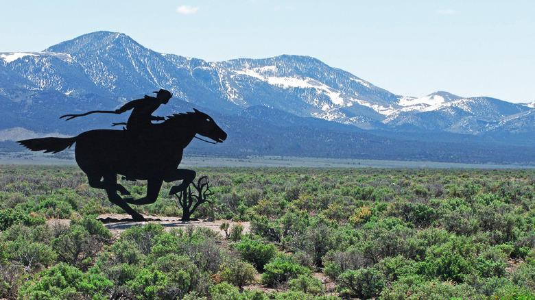 Pony Express rider display in Nevada