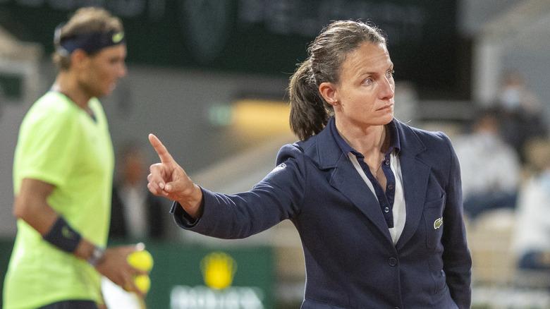 Umpire at tennis match