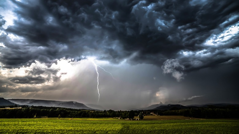 Lightning strikes from dark clouds