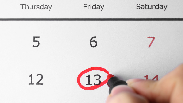 Friday the 13th marked on calendar