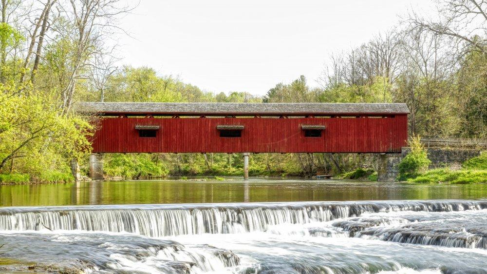 A pretty red covered bridge