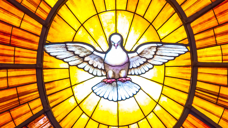 Holy Spirit Dove Stained Glass Amber in 1600s