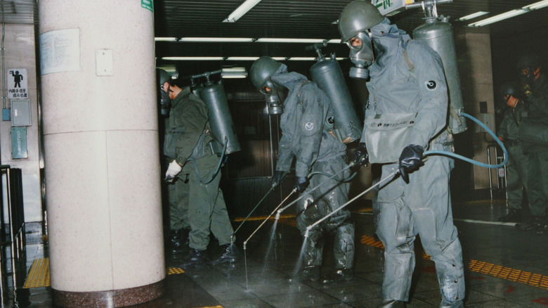 cleaning sarin gas from Tokyo train