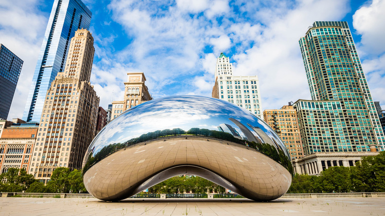The Cloud Gate sculpture (also known as The Bean)