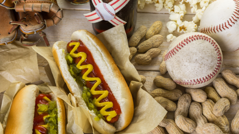Baseball party with hotdog