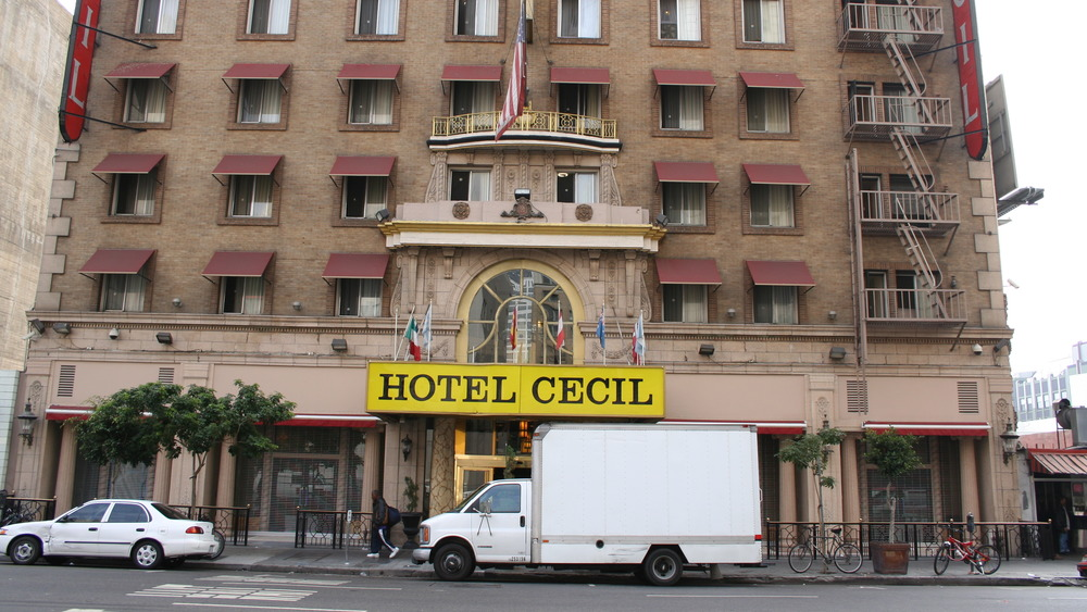 The front doors of the Cecil Hotel