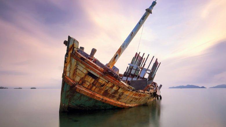 shipwreck sunset