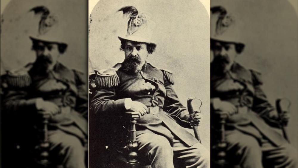 Emperor Norton I posing in regalia