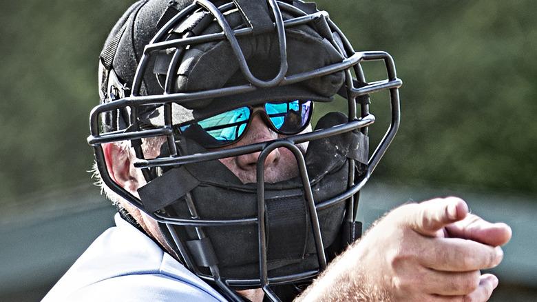 Baseball umpire pointing