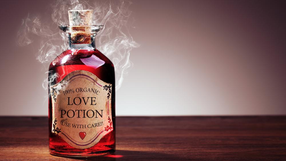 vintage style potion bottle full of love potion