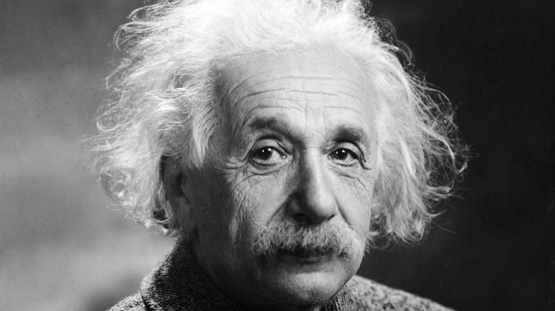 Albert Einstein posing for portrait