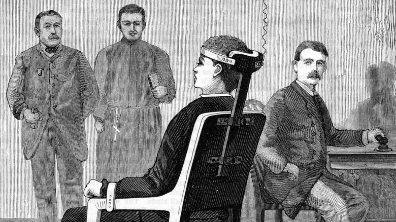 drawing of man in the electric chair, 1890