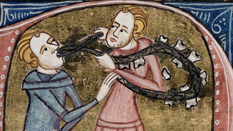 Medieval illustration of a dentist