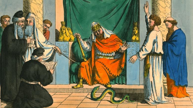 Artwork of Moses speaking to Pharaoh