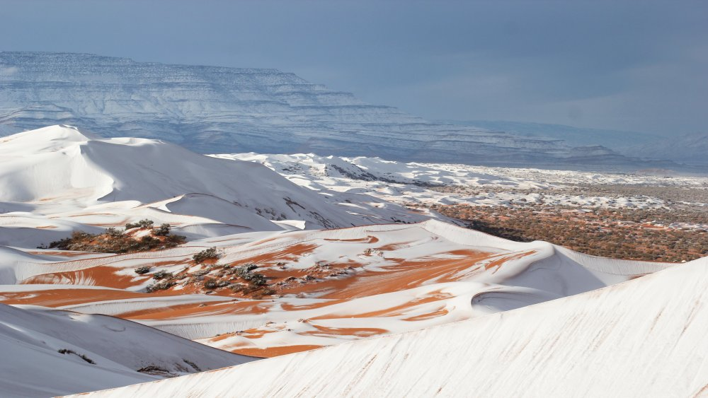 Snow on desert