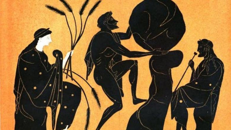 sisyphus on pottery