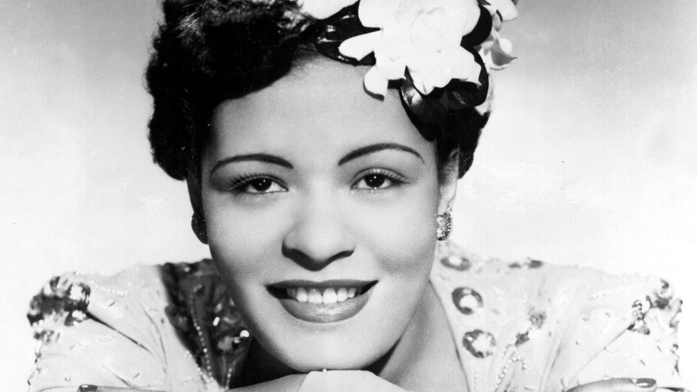 Billie Holiday with flower hair