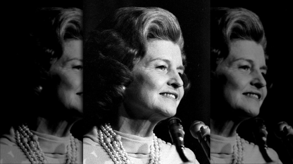 Betty Ford giving a speech in 1976
