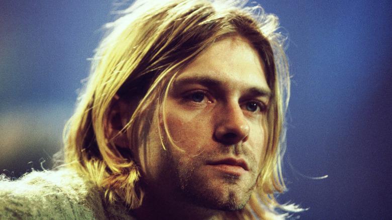 Kurt Cobain looking serious
