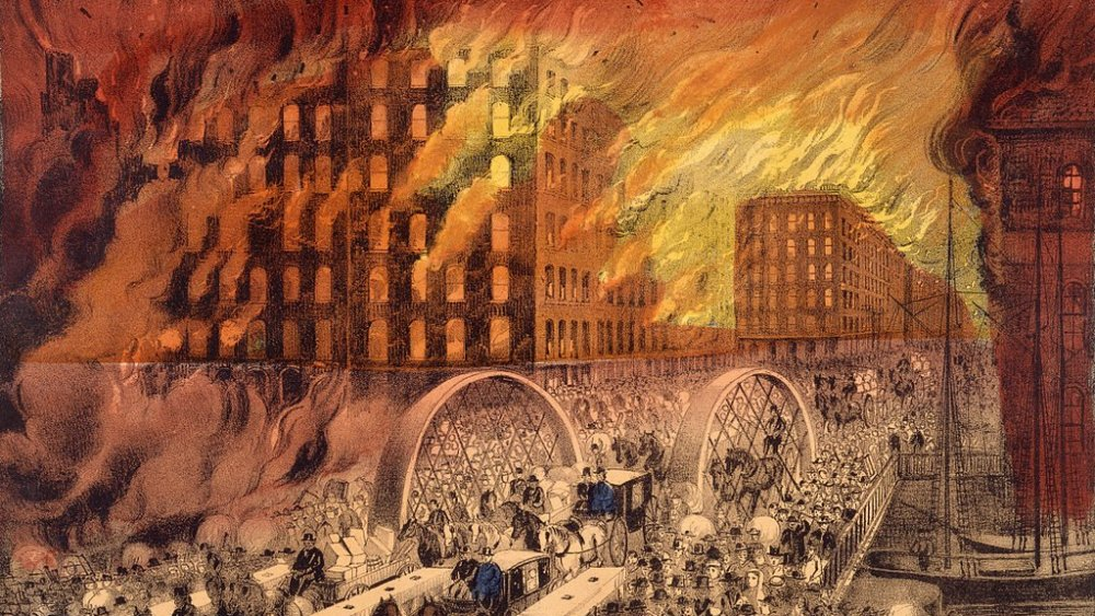 Currier & Ives rendering of Chicago Fire