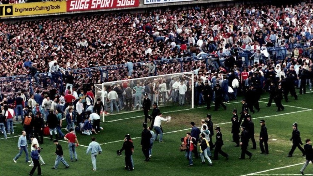 Footage of the Hillsborough disaster unfolding