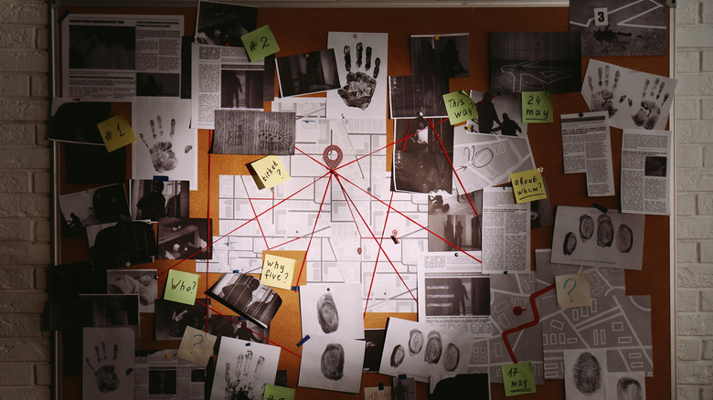 Detective board with clues connected