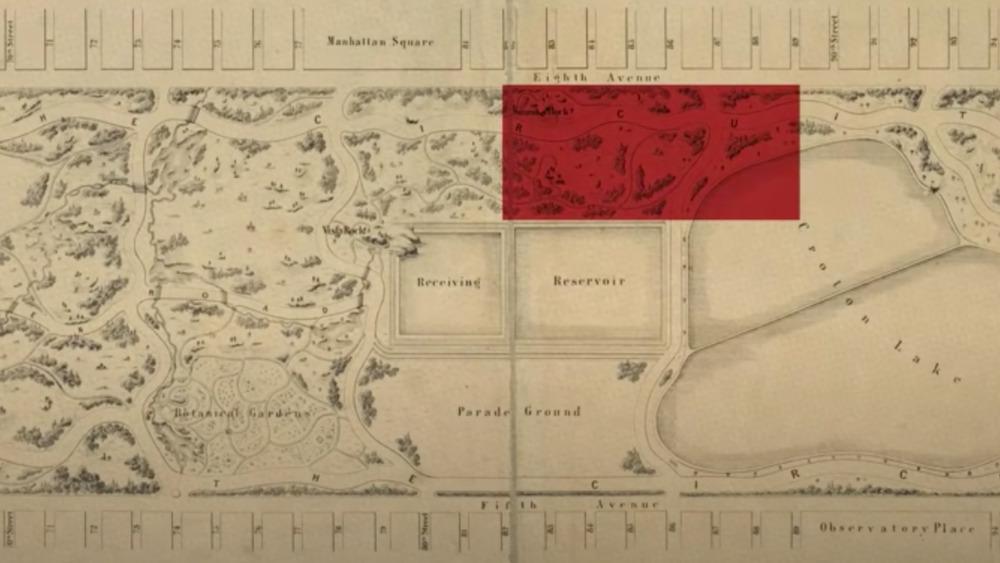 Seneca Village on map of Central Park