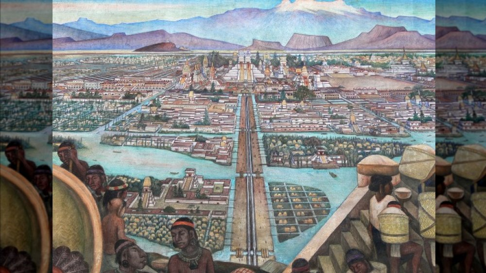Mural by Diego Rivera showing a view of Tenochtitlan