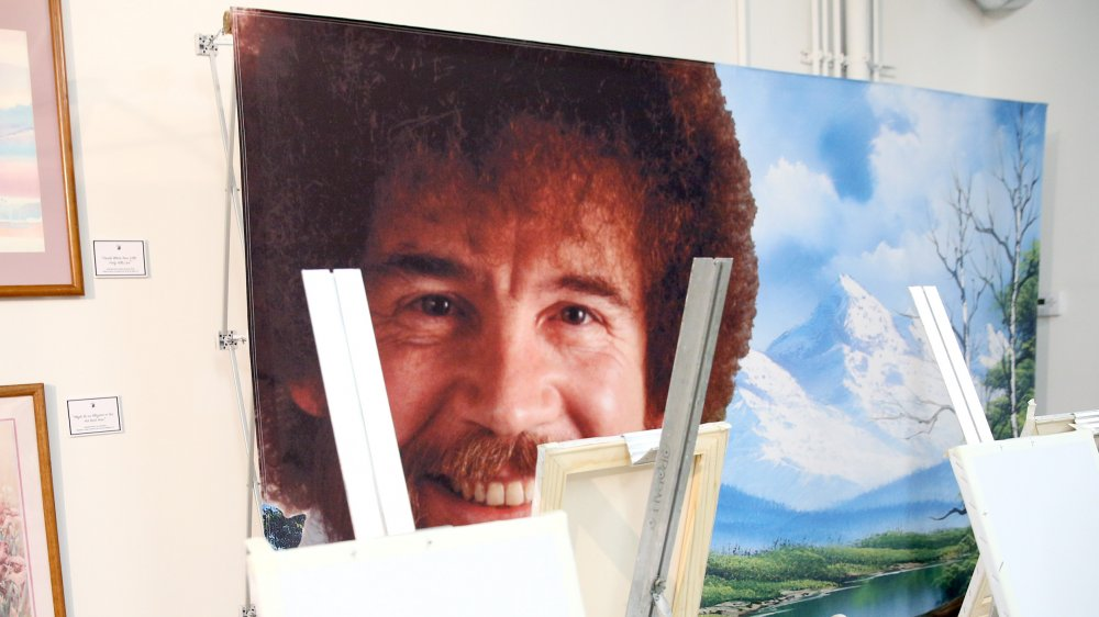 A picture of Bob Ross from an event inspired by his painting style