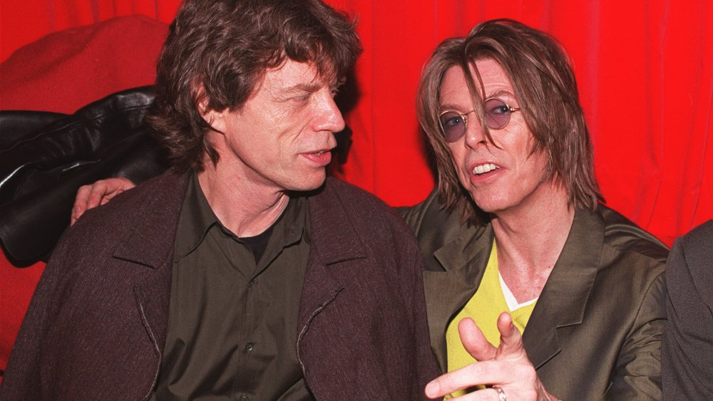 David Bowie and Mick Jagger singing a duet