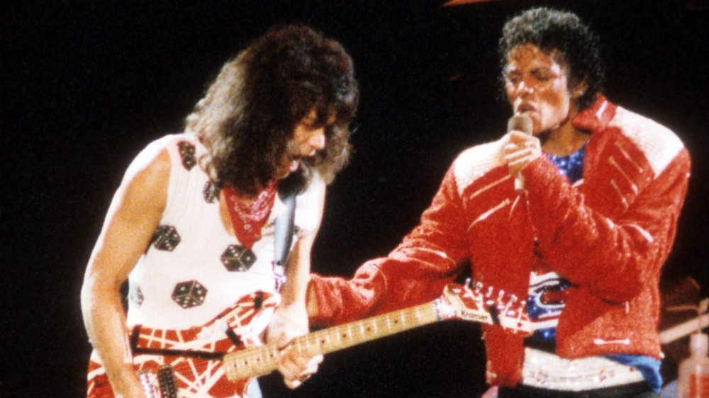 Michael Jackson performs with Eddie Van Halen
