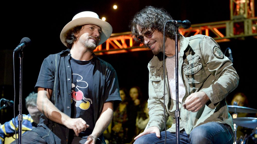 Chris Cornell and Eddie Vedder share time together on stage performing Hunger Strike for the final time in 2014.