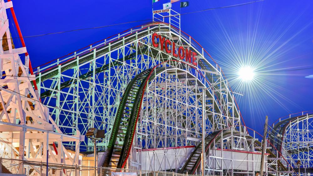 Sun shining on the Cyclone roller coaster