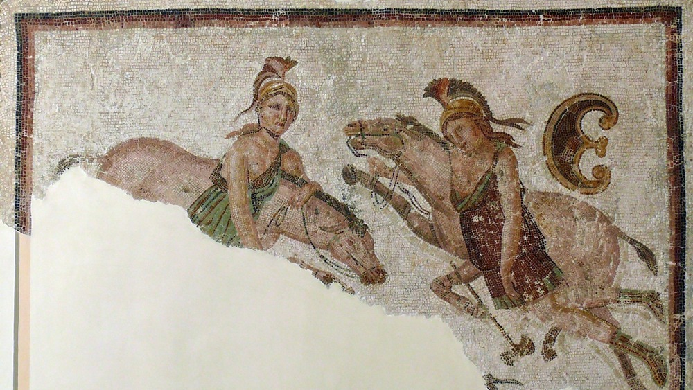 Mosaic fragment depicting two amazons and their horses, protected by Artemis.