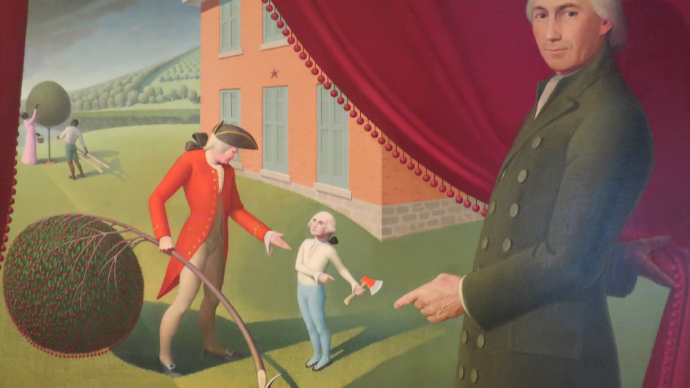 Painting depicting Parson Weems and his famous story of George Washington and the Cherry Tree