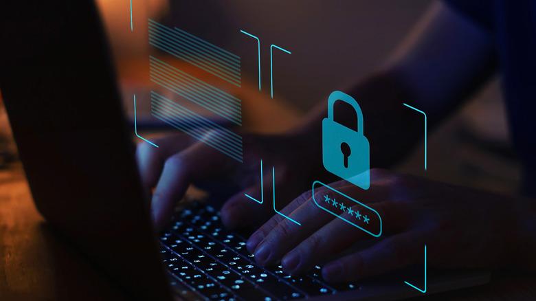 Hacker breaking into a laptop