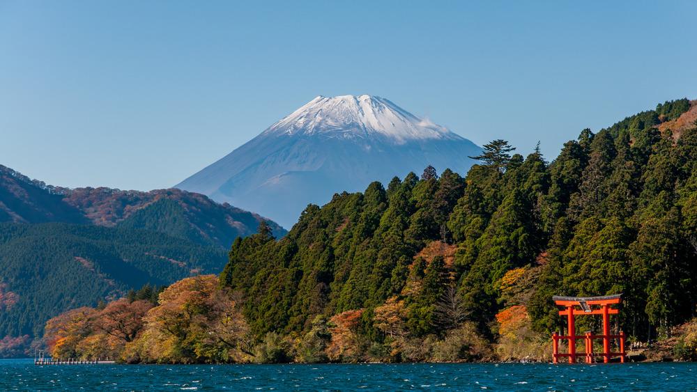 Hakone, Japan, at Lake Ashii in sight of My. Fuji