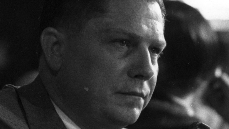 Jimmy Hoffa at microphone at court