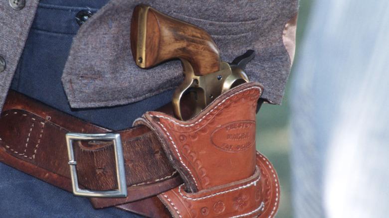 Old West-style handgun in holster