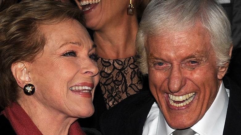 Julie Andrews and Dick Van Dyke both laughing